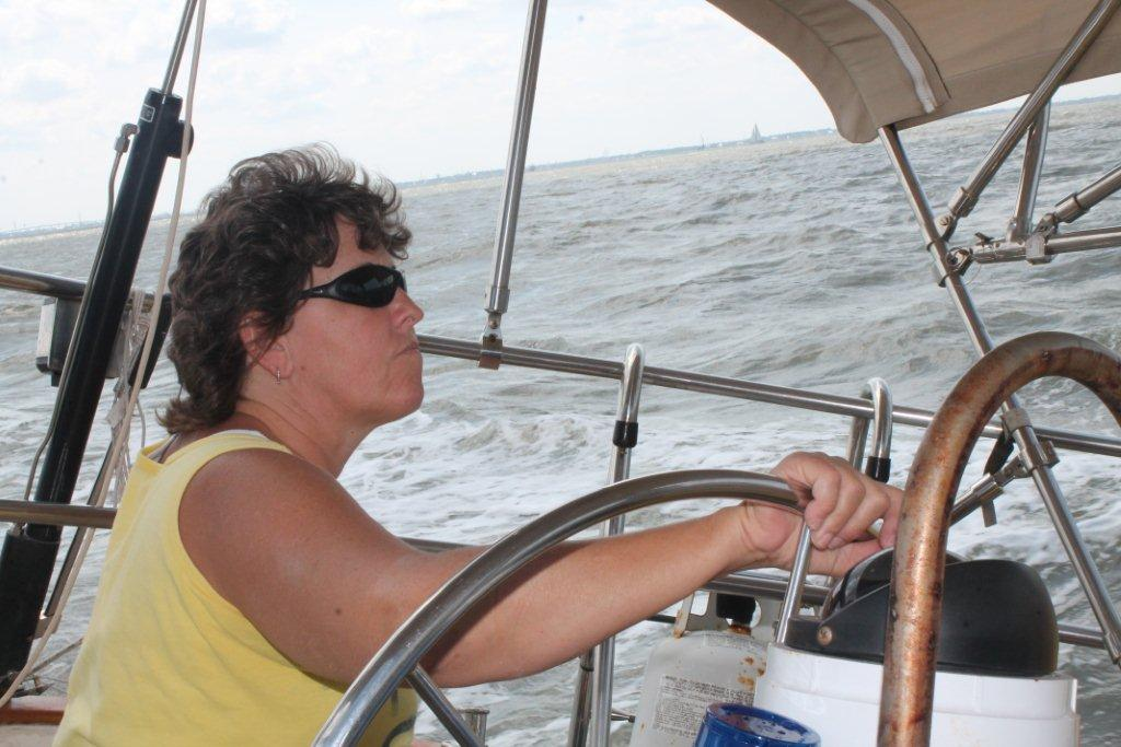 Michelle helming. She also backed us out of the slip at Seabrook. Paul was in a No Worries mood as we zigzagged out of the slip.