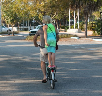 Lily and Randall riding to Keys Fisheries for dinner