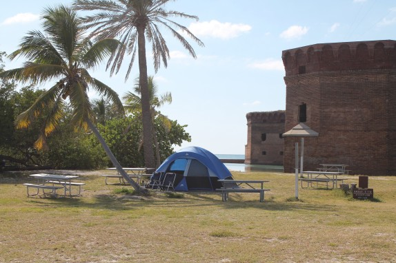 Cool campsites outside the fort's brick walls