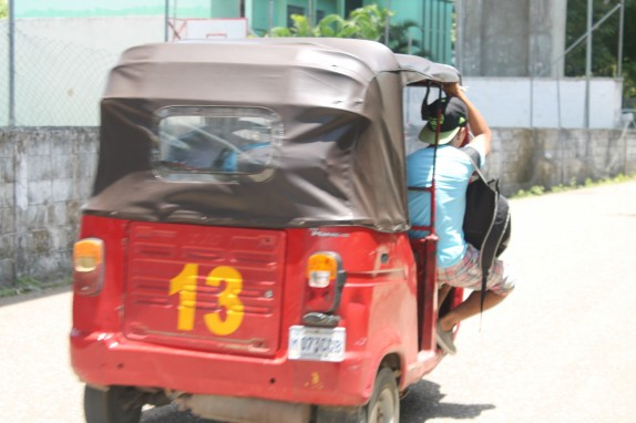 This is a Tuk-tuk which is a quick alternative to a taxi. We haven't used one. With all the eating we do, we need the exercise.