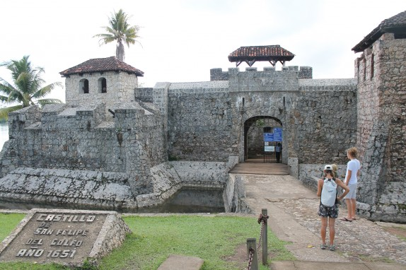 The entrance has a wooden drawbridge but the moat seemed much to shallow.