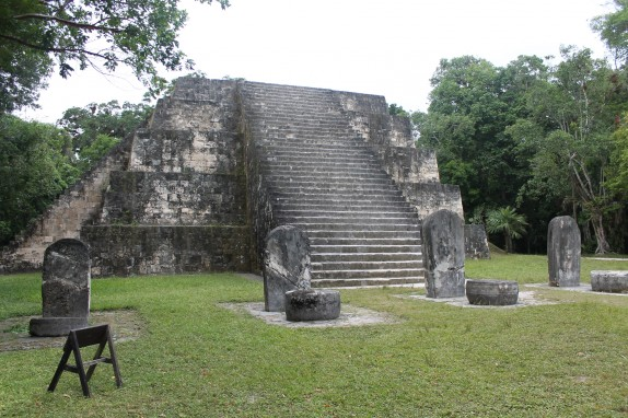 "This is one of the smaller temples. The stones in front are called ""stela"" and were used for sacrificial ceremonies."