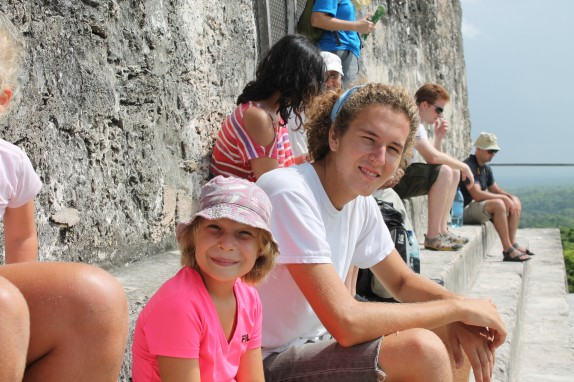 Jake and Lily sitting at the Temple IV overlook.