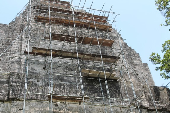 Temple of the Inscriptions covered with scaffolding.