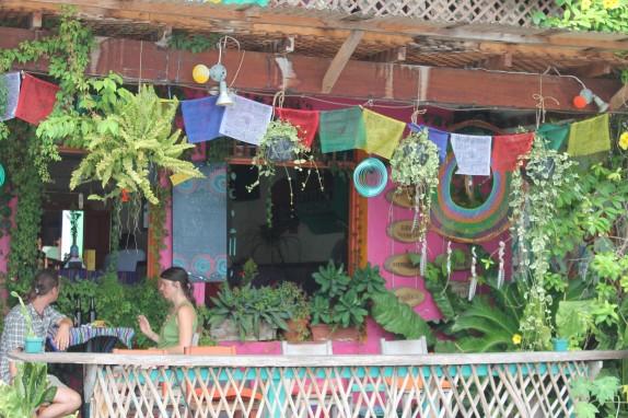 A colorful Flores restaurant tempting us.