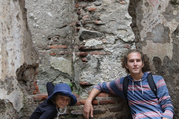 Jake and Lily in front of more ruins from the devastating 1717 earthquake.