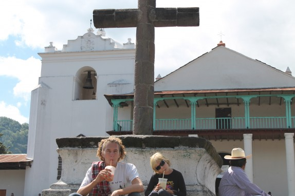 Jake and Lily in front of the Iglesia Parroquial Santiago Apostol