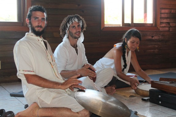Izzy, Avi and Juju getting ready for sound healing session.