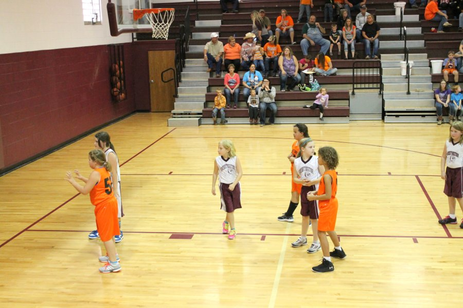 Lily guarding during an inbound pass.