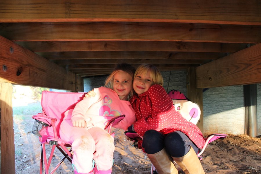 Lily and Hope camping under Toni's Deck.