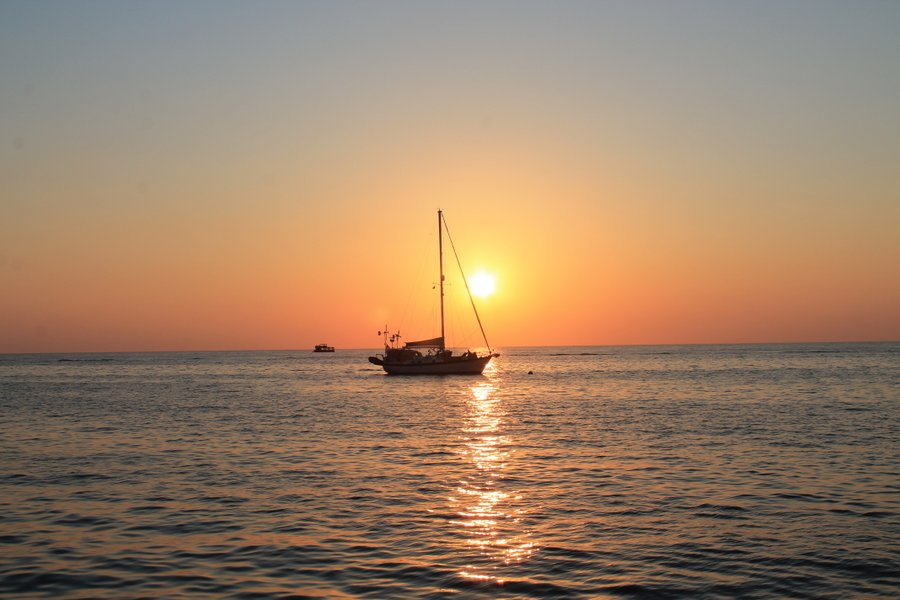 The sun setting on SV Unplugged
