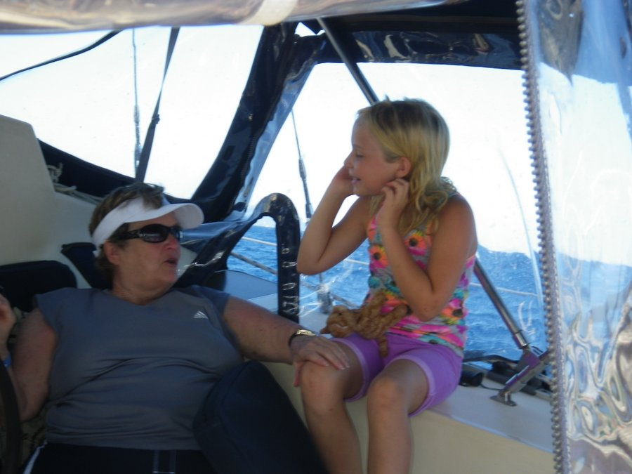 Don't worry, Mamaw. I won't blow off the boat.