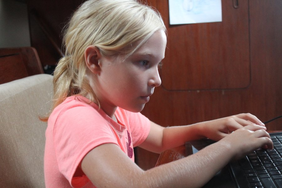 Intense concentration. I would say she is studying but I suspect this is computer-game concentration.