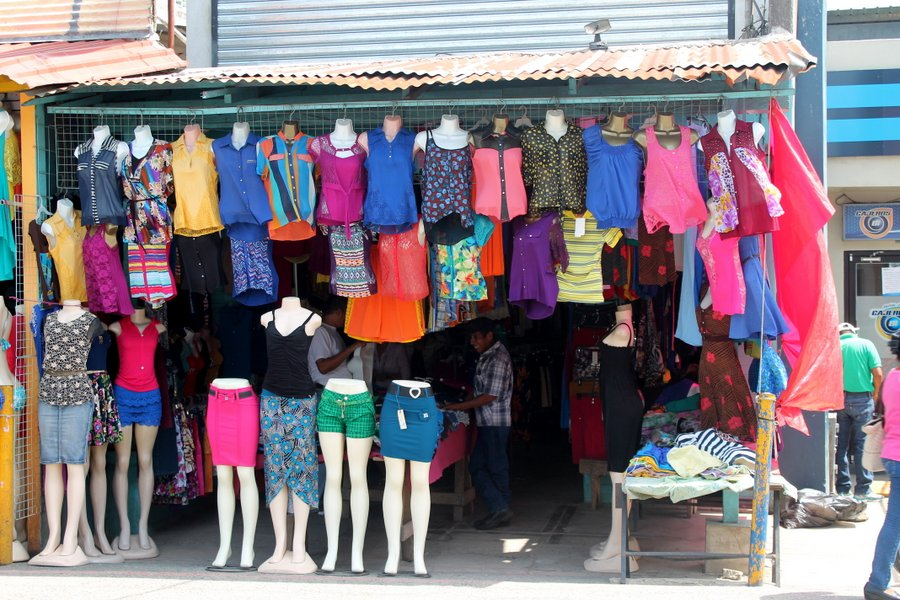 There are lots of colorful clothing for sale in Fronteres.
