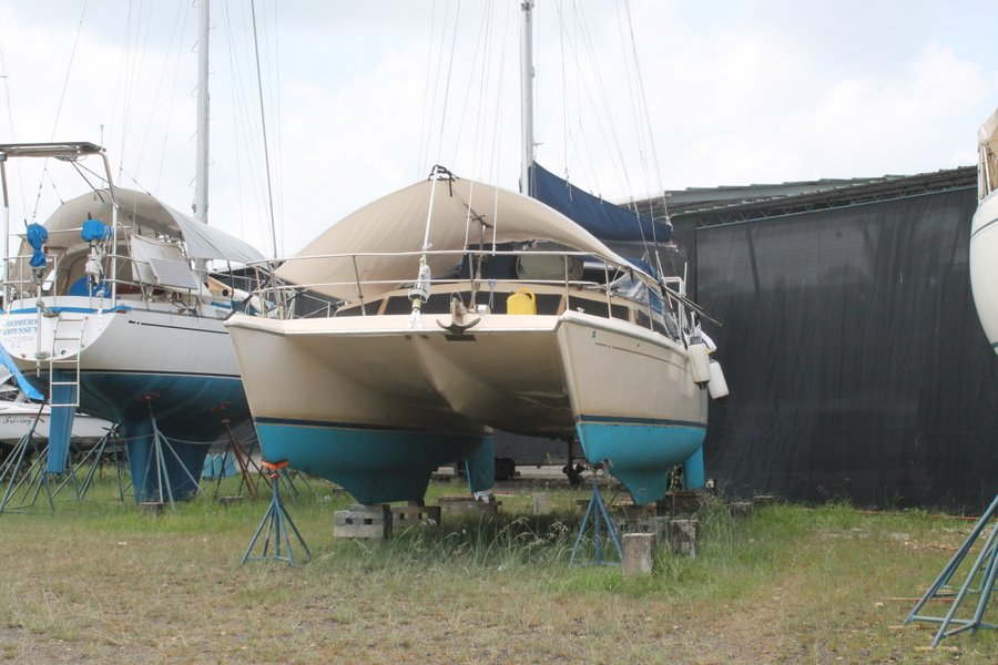 Foxtrot sitting in the Ram Boatyard - already looking lonely.