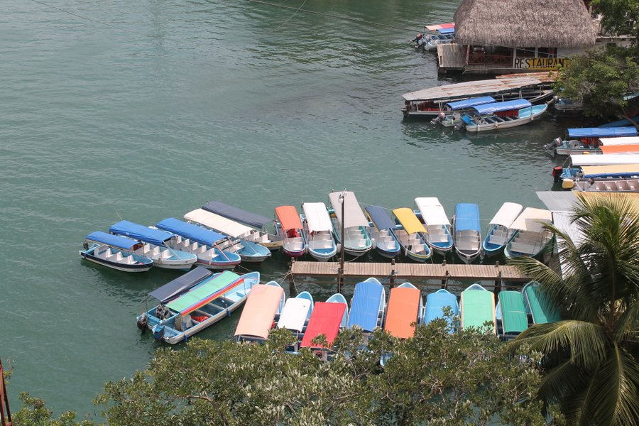 Looking down on the launcha dock from up on the Rio Dulce bridge.