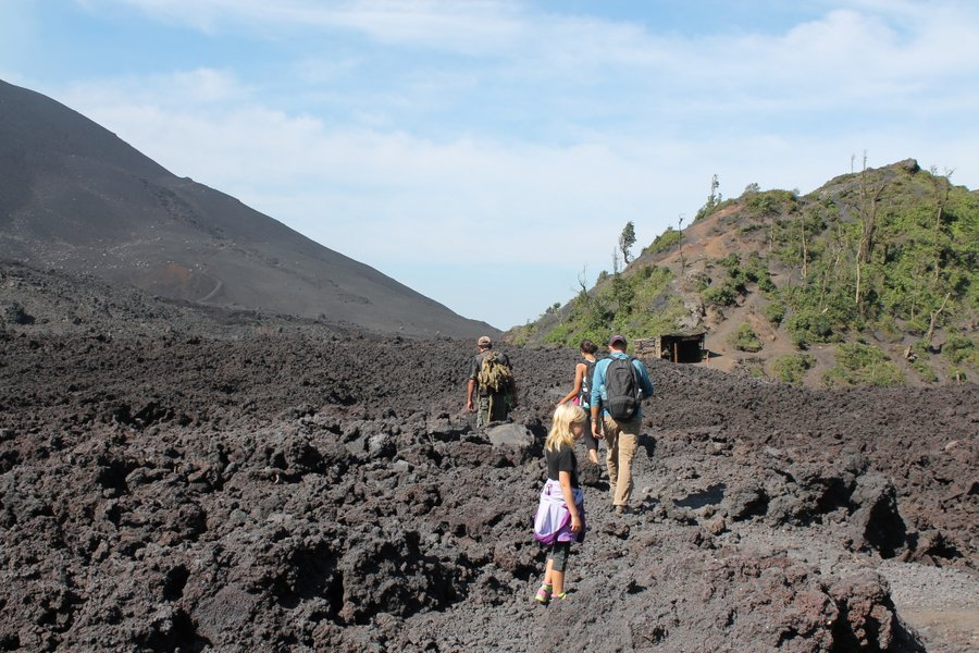 Crossing the desolation of a lava rock field