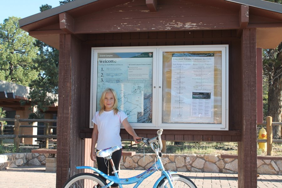 Lily in front of the South Rim map. We are skimming the map for showers but, nope, no showers at any of the campgrounds. I guess we will stay dirty.