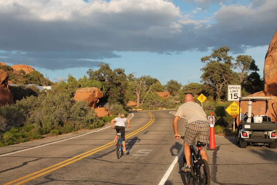 We tackled some steep grades just in the campground area. Moab is covered in bike trails.