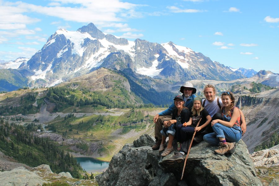 Group shot in front of Mount Shuksan.