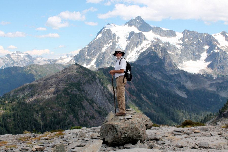 Randall atop a rock at Tablerock.