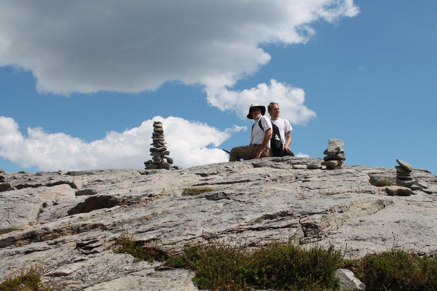 Randall and Jake among the cairns.