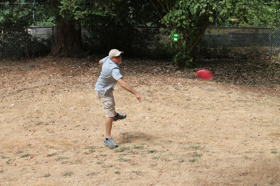 Randall has got the vertical disc throwing form down but the trajectory is still erratic.