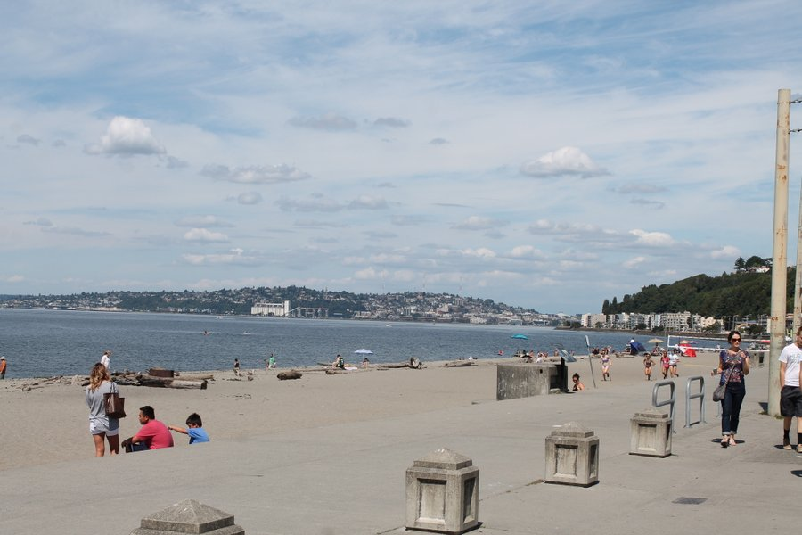 Alki Beach with downtown Seattle in the background.