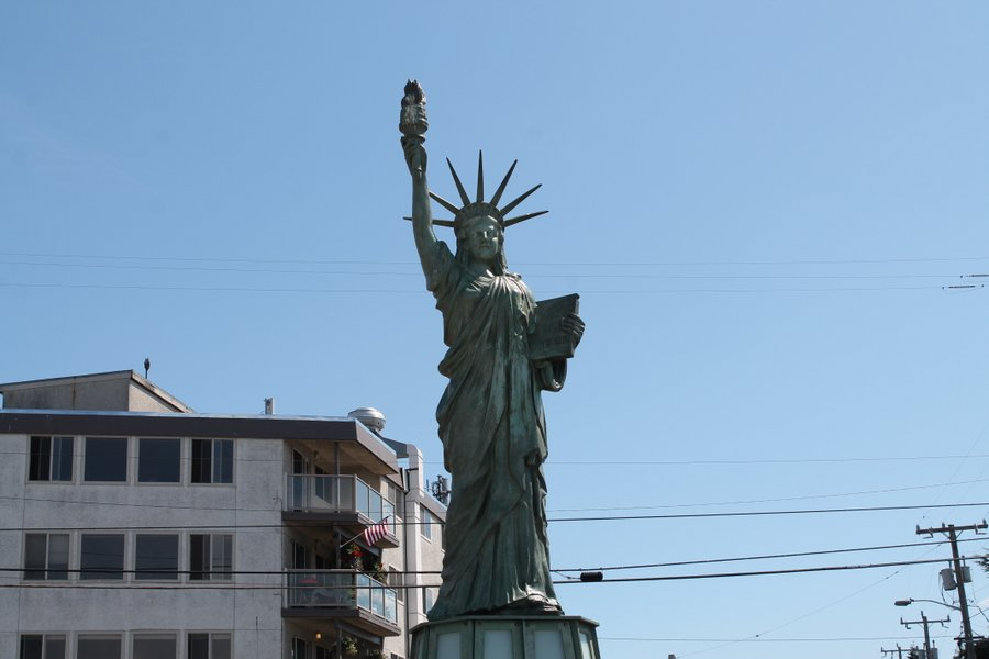 Alki Beach has a Statue of Liberty replica. It wasn't immigration via the ocean but this place is quite a melting pot, too.