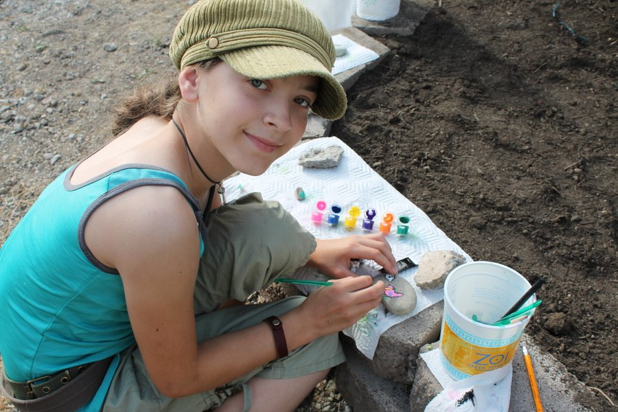 Painting rocks for the Fairy Garden.