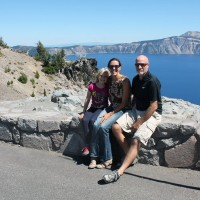 Family pic near the north entrance to Crater Lake.