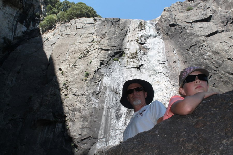 Randall and Lily at the late summer efforts of Yosemite Falls.