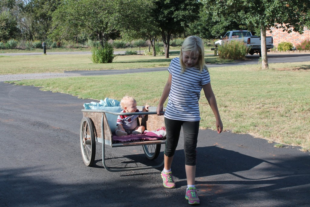 The wheelbarrow might not be baby-proof but Lily kept a sharp eye on her Ryder.