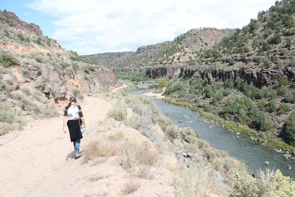 Walking back from the hot springs to the John Dunn Bridge, Taos.