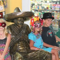 Lily, Christina and Victor with Pancho Villa-type sculpture.