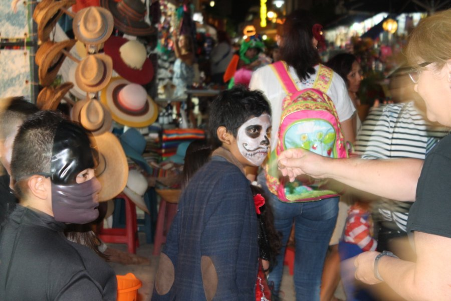 Perfecting the mouth is one of the first challenges for the face painters.