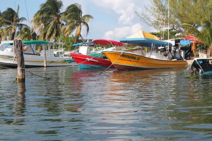 Local fishing boats lined up along the western (leeward) shore of the island.