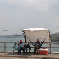 The bridge vendors must do a good job of securing their temporary canopies. It is windy up there.