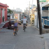 Biking on an Isla Mujeres back street. It is nice to have the street to ourselves. The sidewalks are a bit narrow.