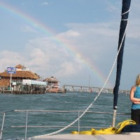 The skies cleared up and a rainbow came out just as we entered the Boot Key Harbor channel.