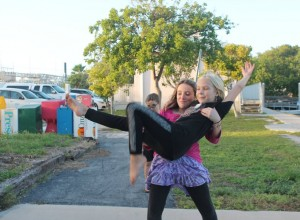 Peyton and Lily perfecting their ballet routine.